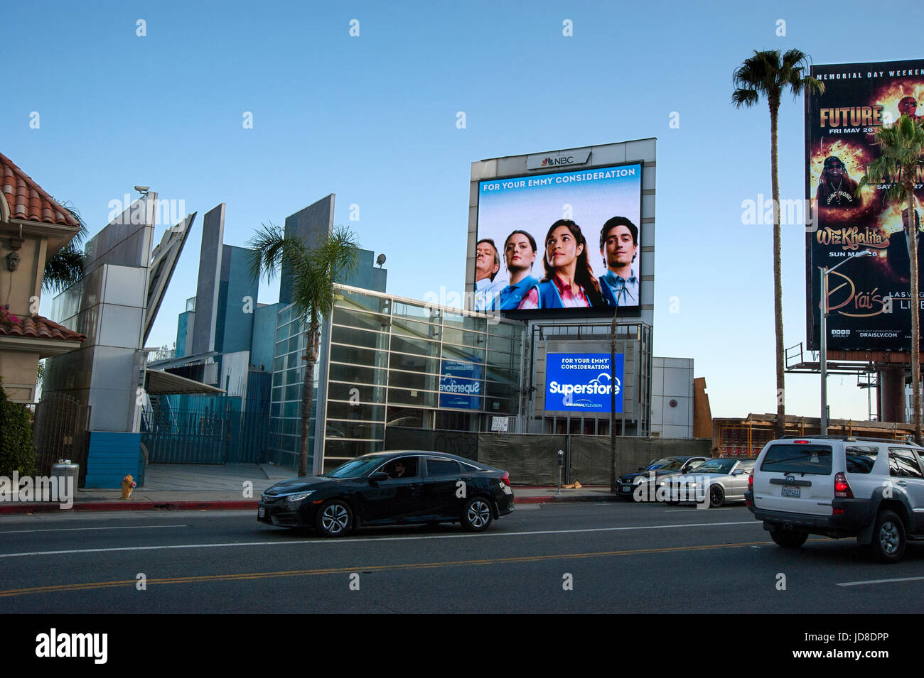 Dighital billboard on the Sunset strip promoting NBC televsion show Super Store in Los Angeles, CA - Stock Image