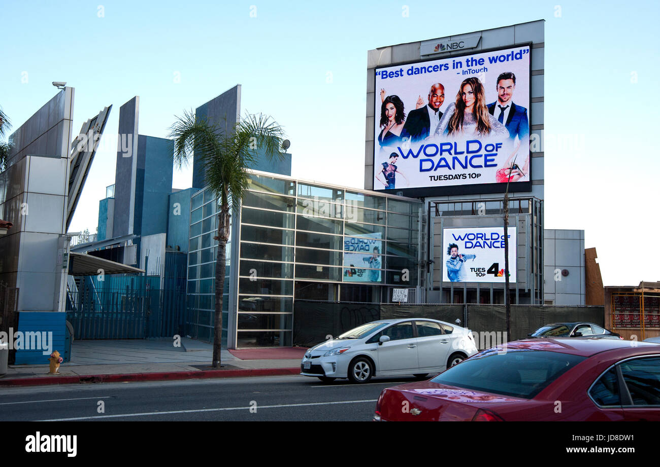Electronic advertising display on the Sunset Strip promoting NBC television show World of Dance on the Sunset Strip - Stock Image