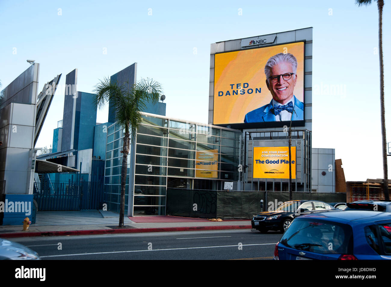 Digital billboard on the Sunset Strip in Los Angeles promoting NBC television star Ted Danson and the show The Good - Stock Image