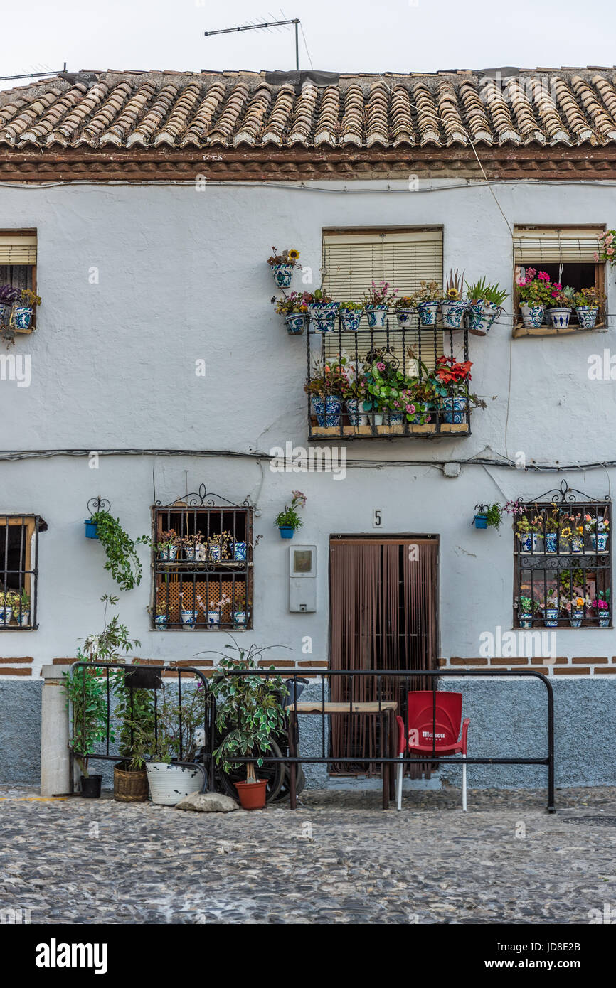 Walking in the streets of the old town and enjoying the decorated houses Stock Photo