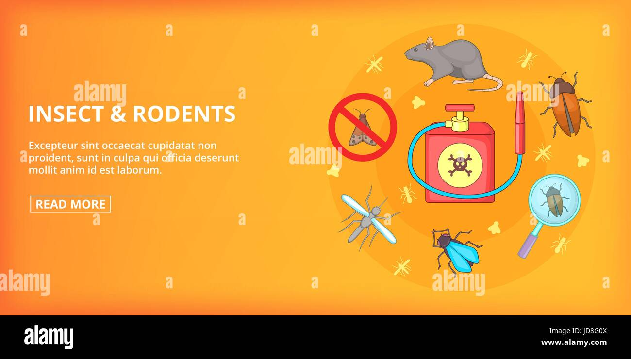 Insect rodents banner horizontal, cartoon style - Stock Image