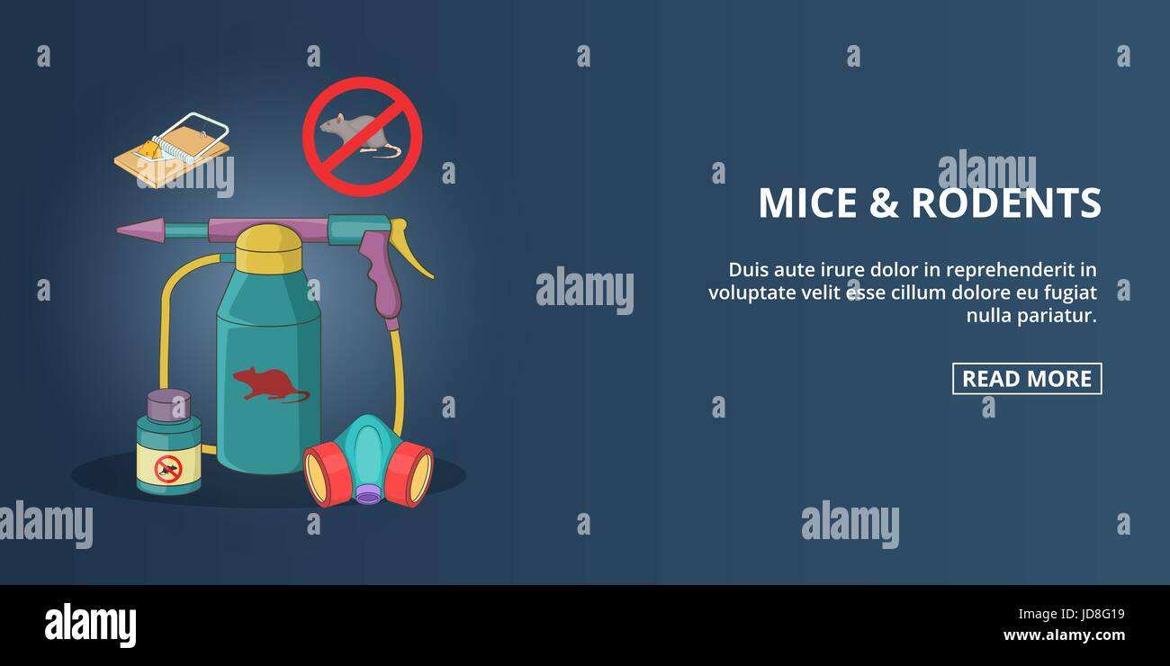 Mice and rodents banner horizontal, cartoon style - Stock Image