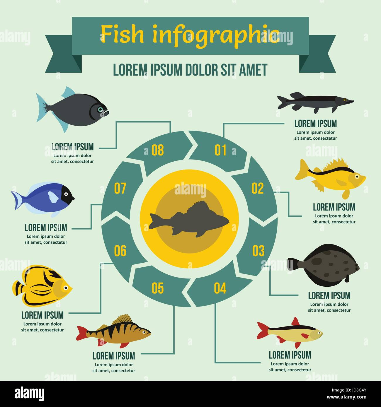 Fish infographic concept, flat style - Stock Vector