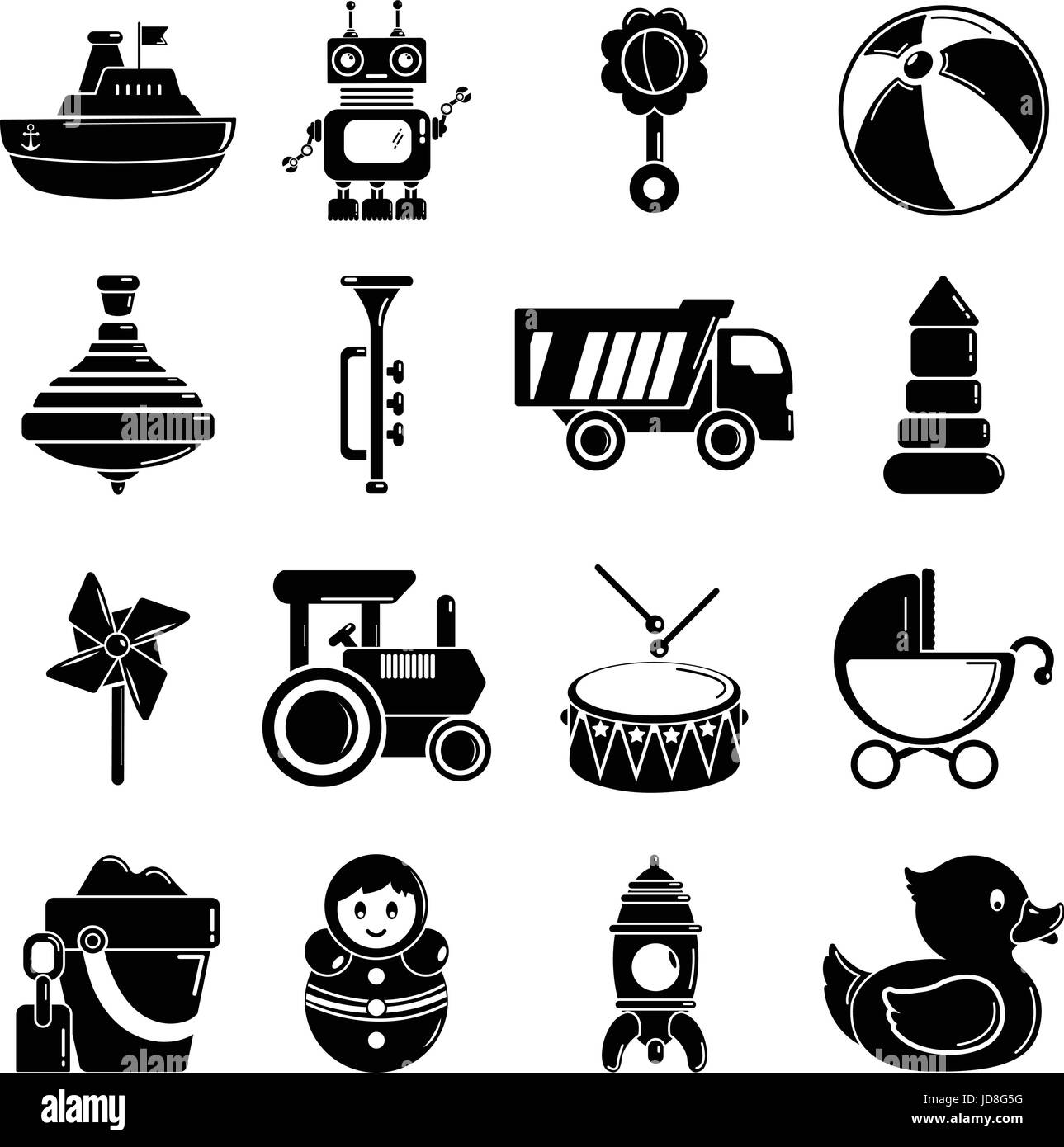 Kids toys icons set, simple style Stock Vector Art ...