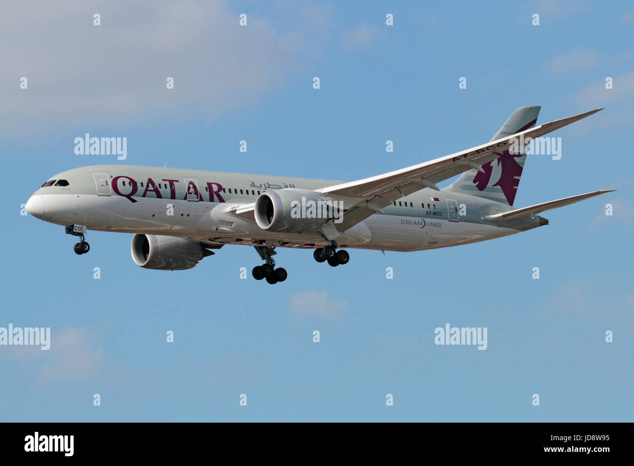 Commercial air travel. Qatar Airways Boeing 787-8 Dreamliner widebody passenger jet on approach Stock Photo