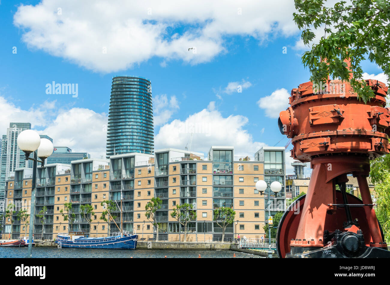 Millwall Outer Dock at the Isle of Dogs, London Docklands - Stock Image