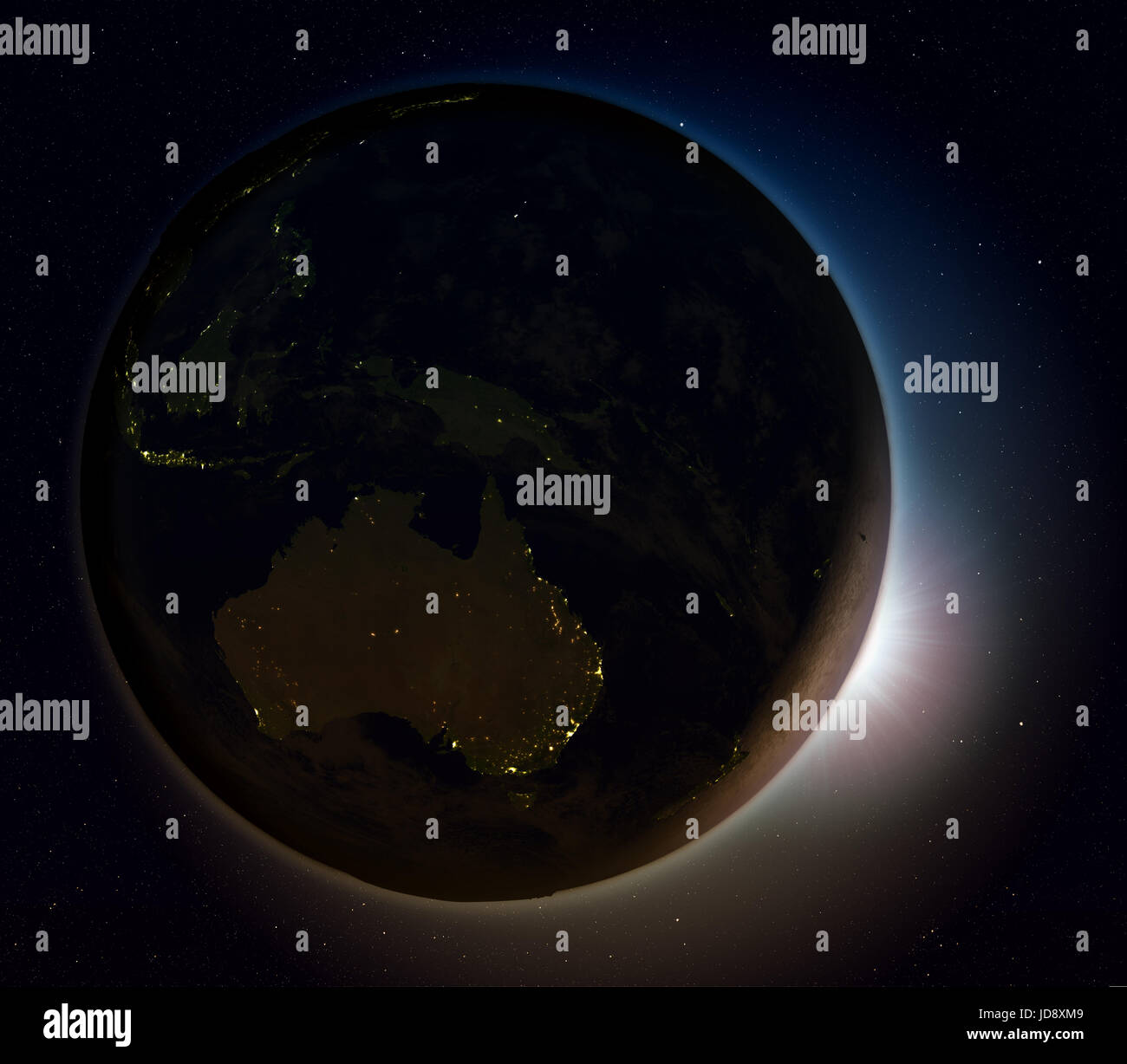 Sun Rising Above Australia On Planet Earth As Seen From Space 3d