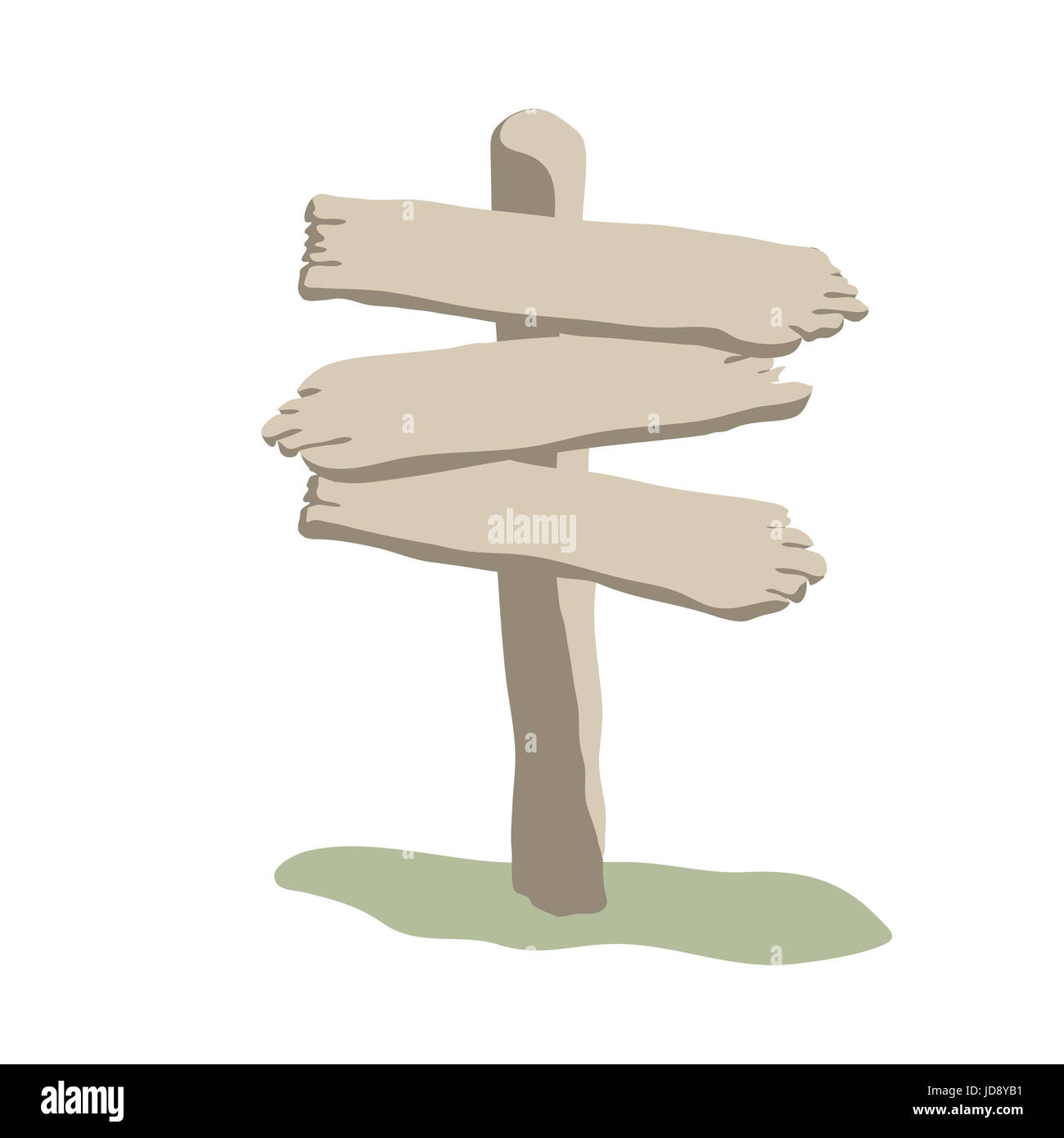 Three arrow shapes blank weathered wooden sign boards for message cartoon style - Stock Image