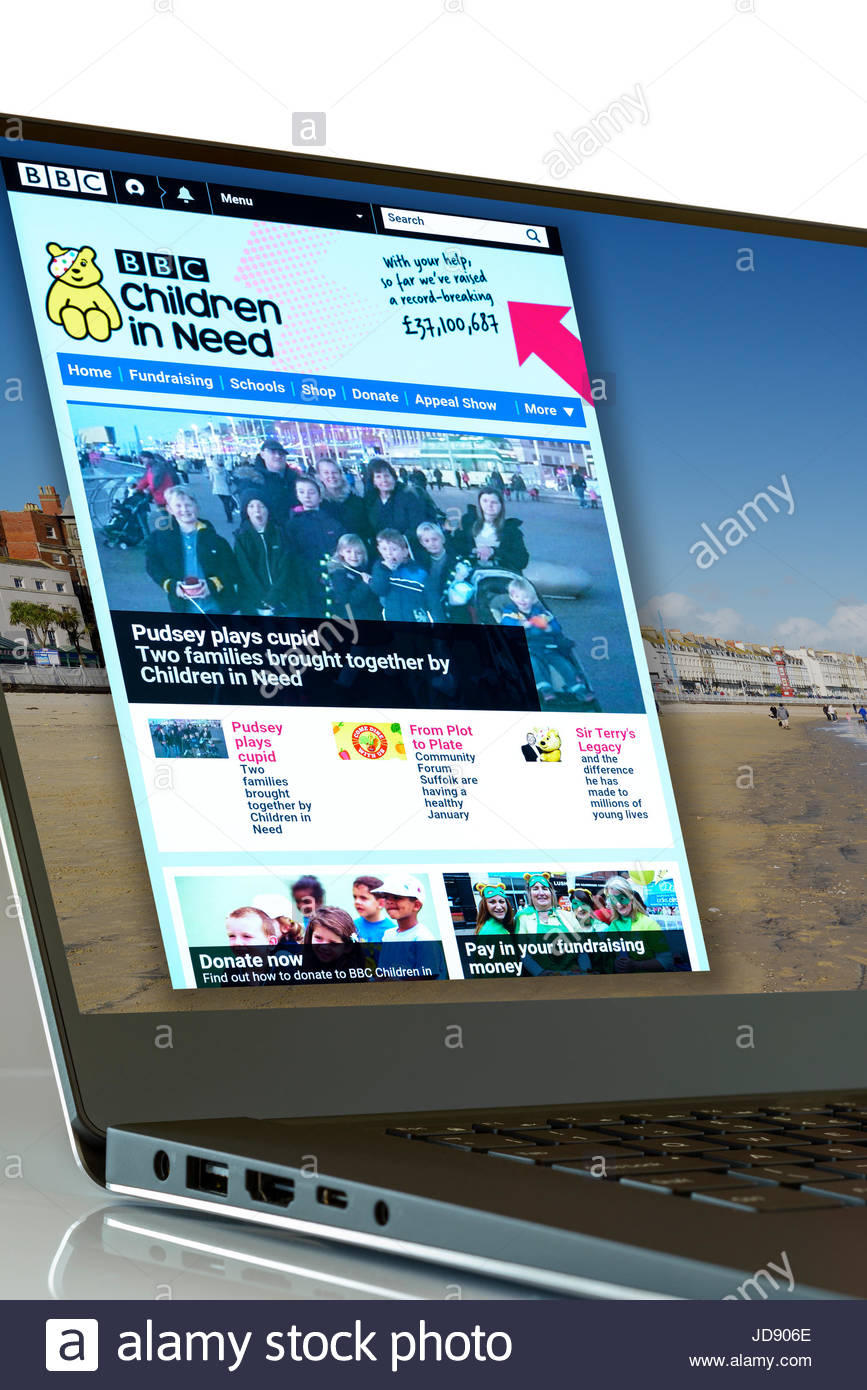 Children in Need app on laptop screen, England, UK - Stock Image