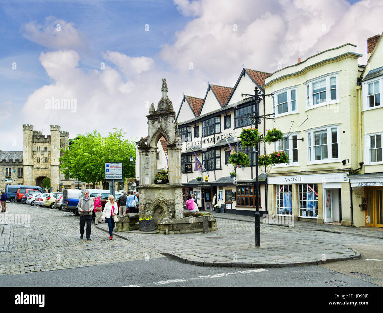 8 June 2017: Wells, Somerset, England, UK - The town centre of the old cathedral city of Wells, with the Market Stock Photo