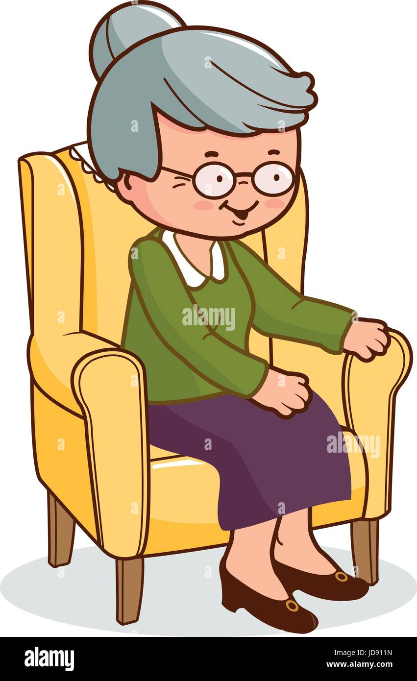 Old woman sitting in armchair - Stock Vector