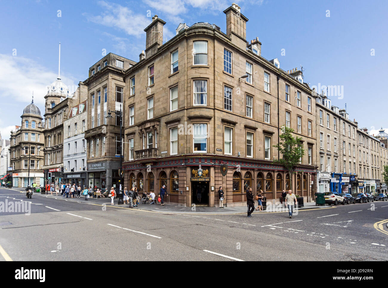 Corner of Nethergate and Union Street with Trades House Bar in Dundee Tayside Scotland UK - Stock Image