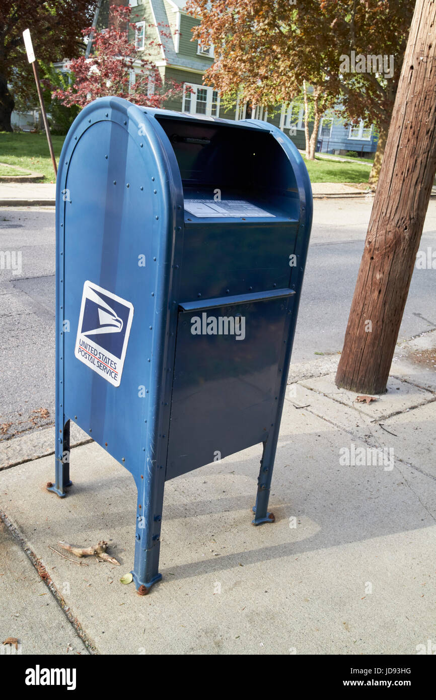 united states postal service mailbox on residential street dorchester Boston USA - Stock Image