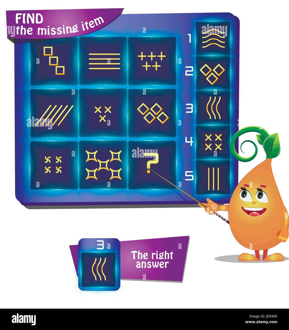 Visual Game for children summer. Task: find the missing item shape - Stock Vector