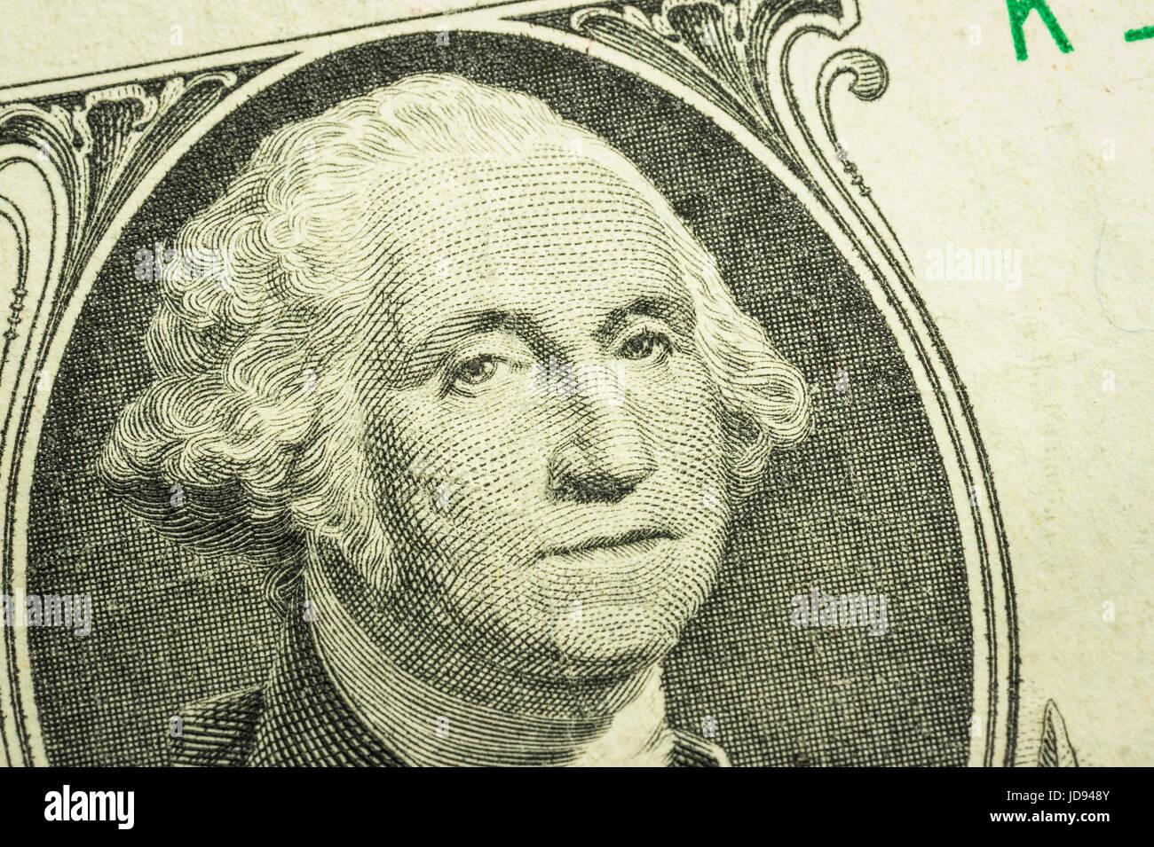 George Washington Detail One US Dollar Bill - Stock Image