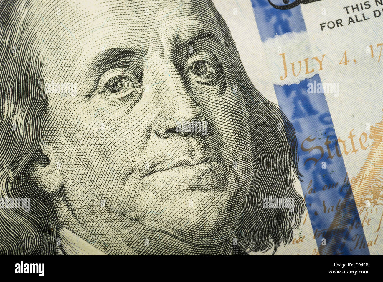 Ben Franklin Detail On US One Hundred Dollar Bill - Stock Image