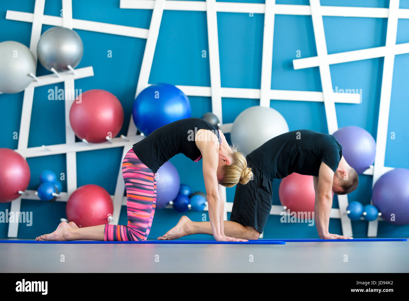 Nice couple doing yoga in a studio. Young people in yoga class in Cat pose. Yoga group concept - Stock Image