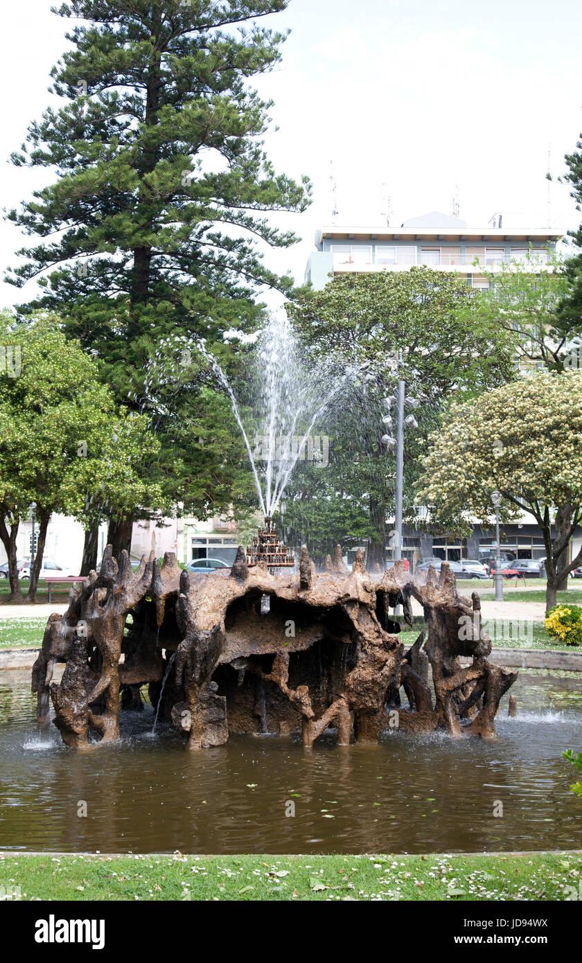 Jardim Do Passeio Alegre Fountain in Porto - Portugal - Stock Image