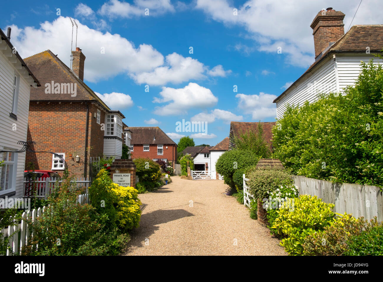 English British Countryside Cottages Houses Blue Sky Puffy