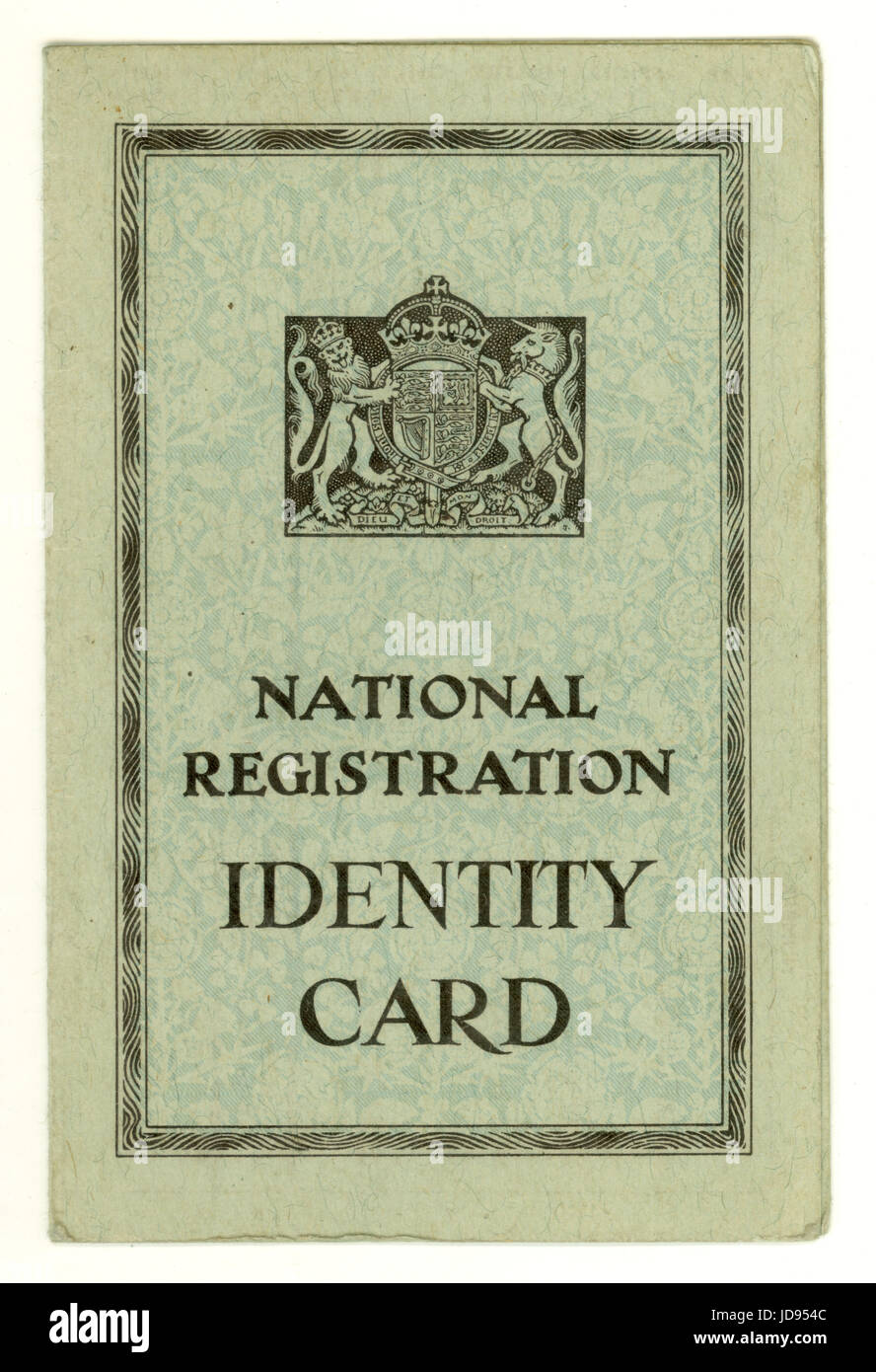 British National Registration Identity Card from World War 2 (WW11) dated 1943, issued for adults, UK - Stock Image