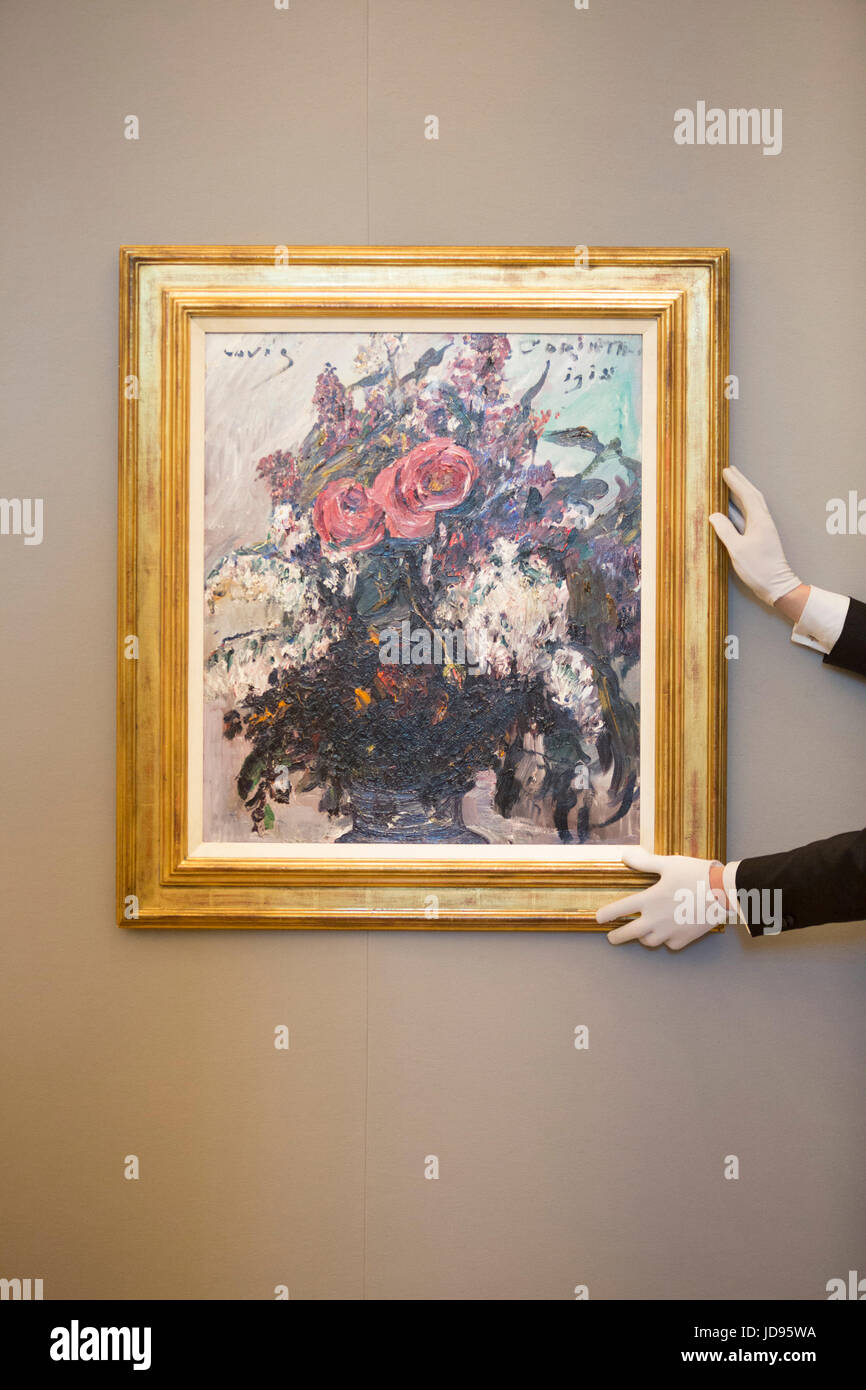 London, UK. 19 June 2017. Lovis Corinth, Rosen und Flieder. Estimated at GBP 250,000-350,000. Bonhams presents a - Stock Image