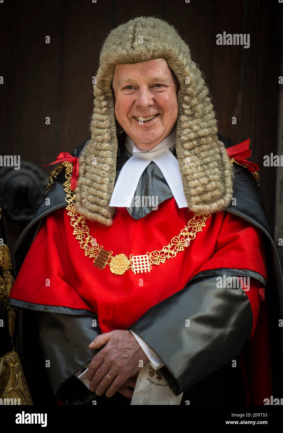 The Lord Chief Justice Lord Thomas of Cwmgiedd arrives at the Lord Chancellor David Liddington's swearing in ceremony Stock Photo