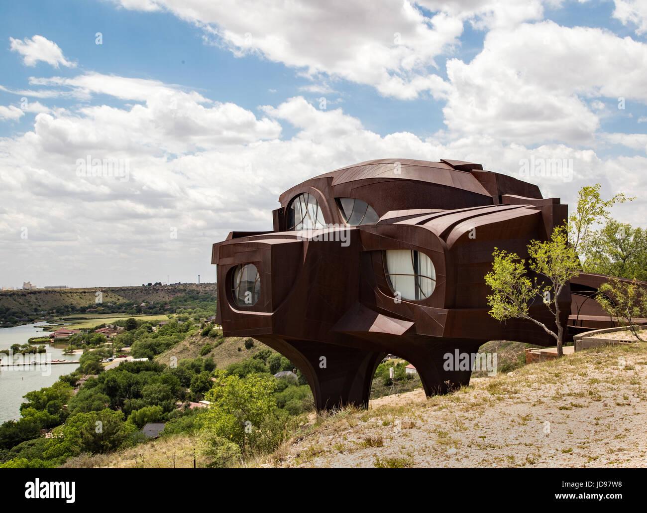 Robert Bruno unfinished steel house Lubbock Texas - Stock Image