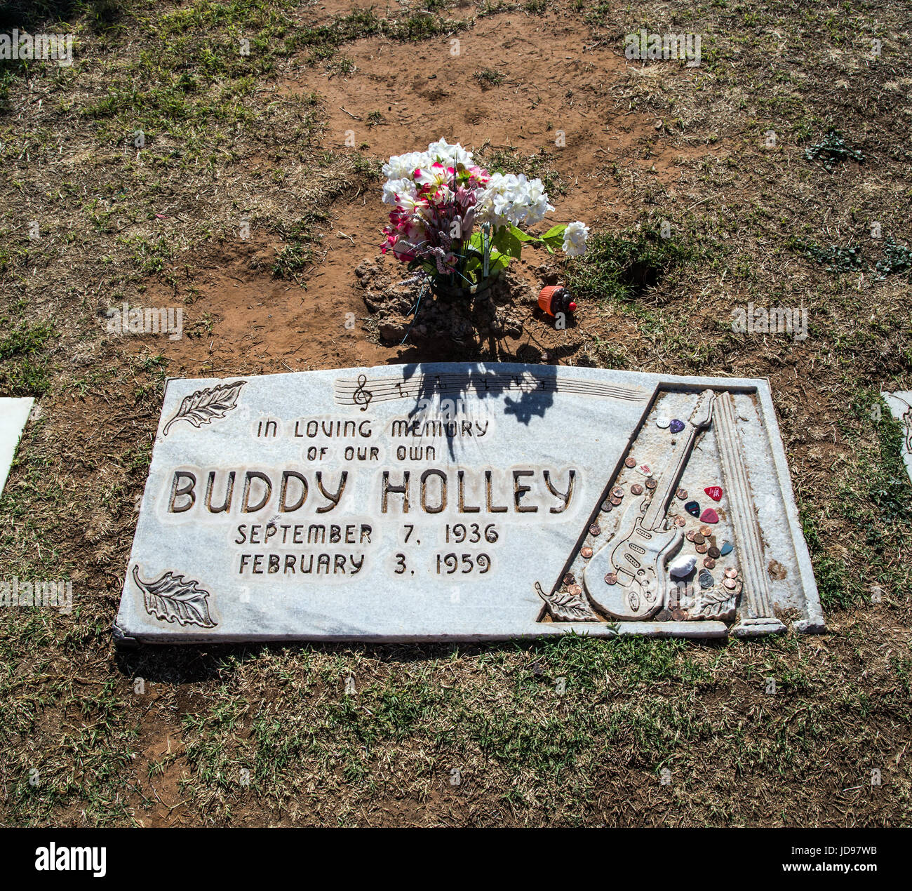 Born Charles Hardin Holley he became famous as Boddy Holly, but his real grave stone bears his true Holley name - Stock Image