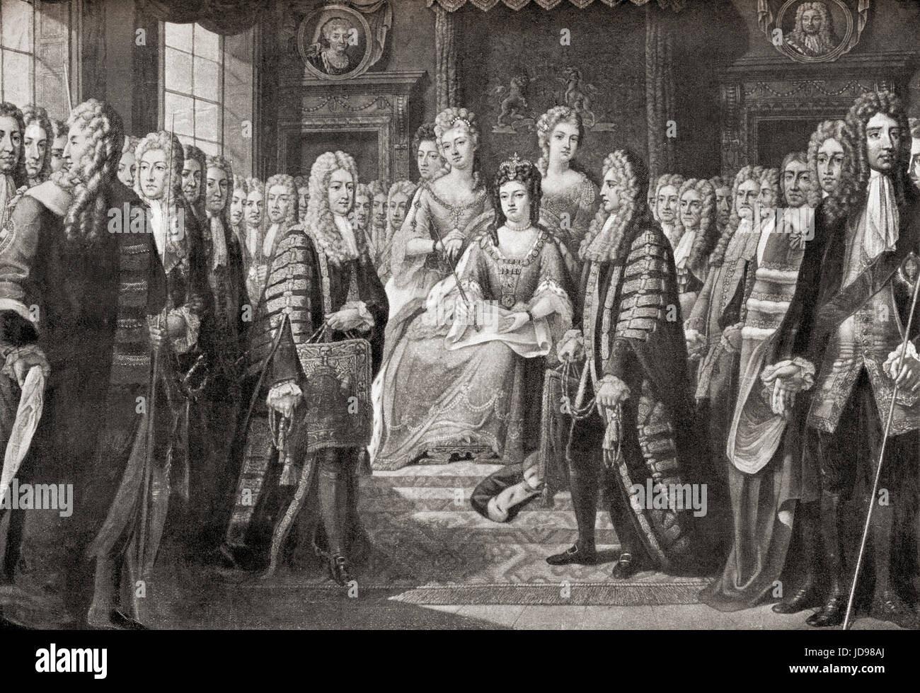 The articles of the Acts of Union between England and Scotland, which came into effect on 1 May 1707 and created the single, united kingdom of Great Britain, presented by the Commissioners to Queen Anne, 1706. Anne, 1665 – 1714.  Queen of England, Scotland and Ireland.   From Hutchinson's History of the Nations, published 1915. Stock Photo