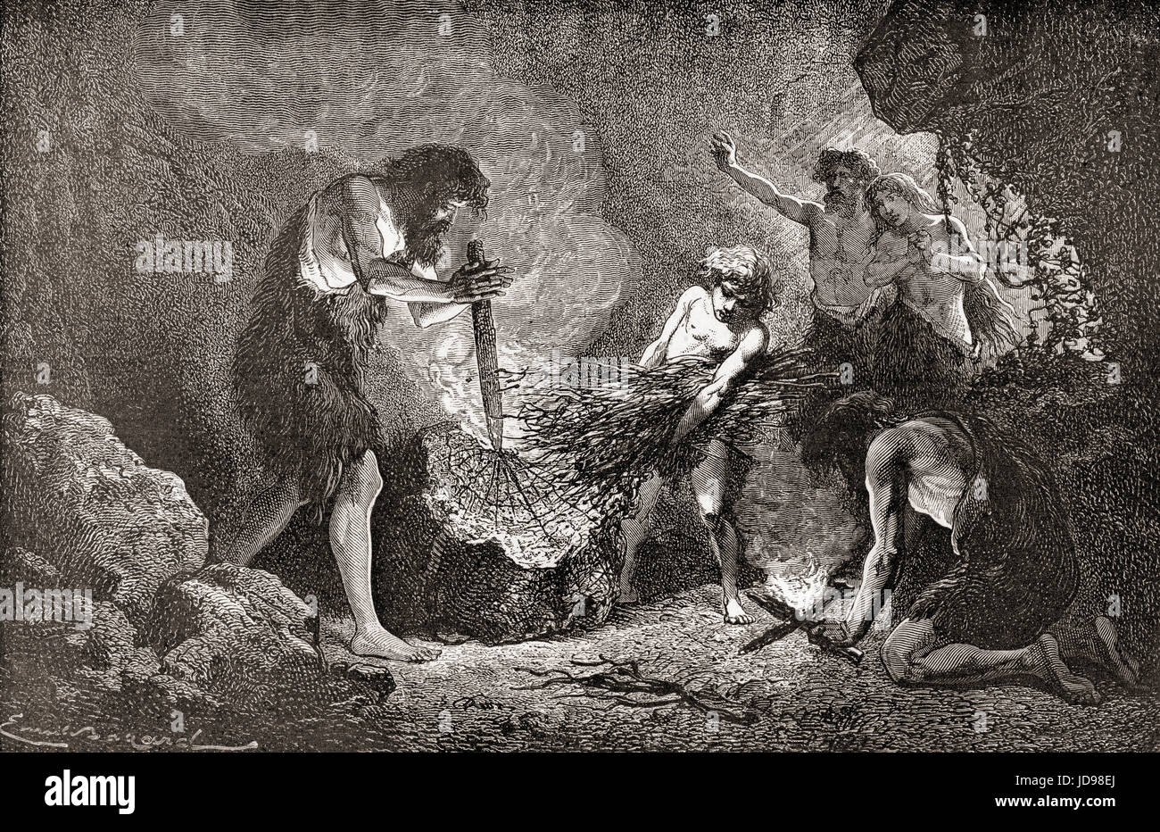 Stone age man discovers fire.  From L'Homme Primitif, published 1870. - Stock Image