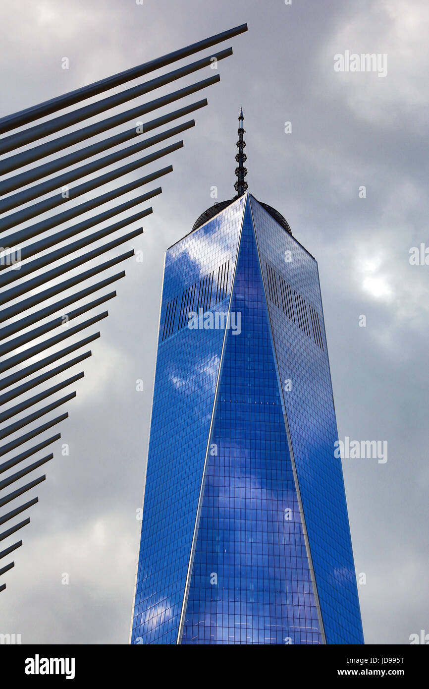 WTC1 skyscraper and blue sky reflection, New York City, New York, USA - Stock Image