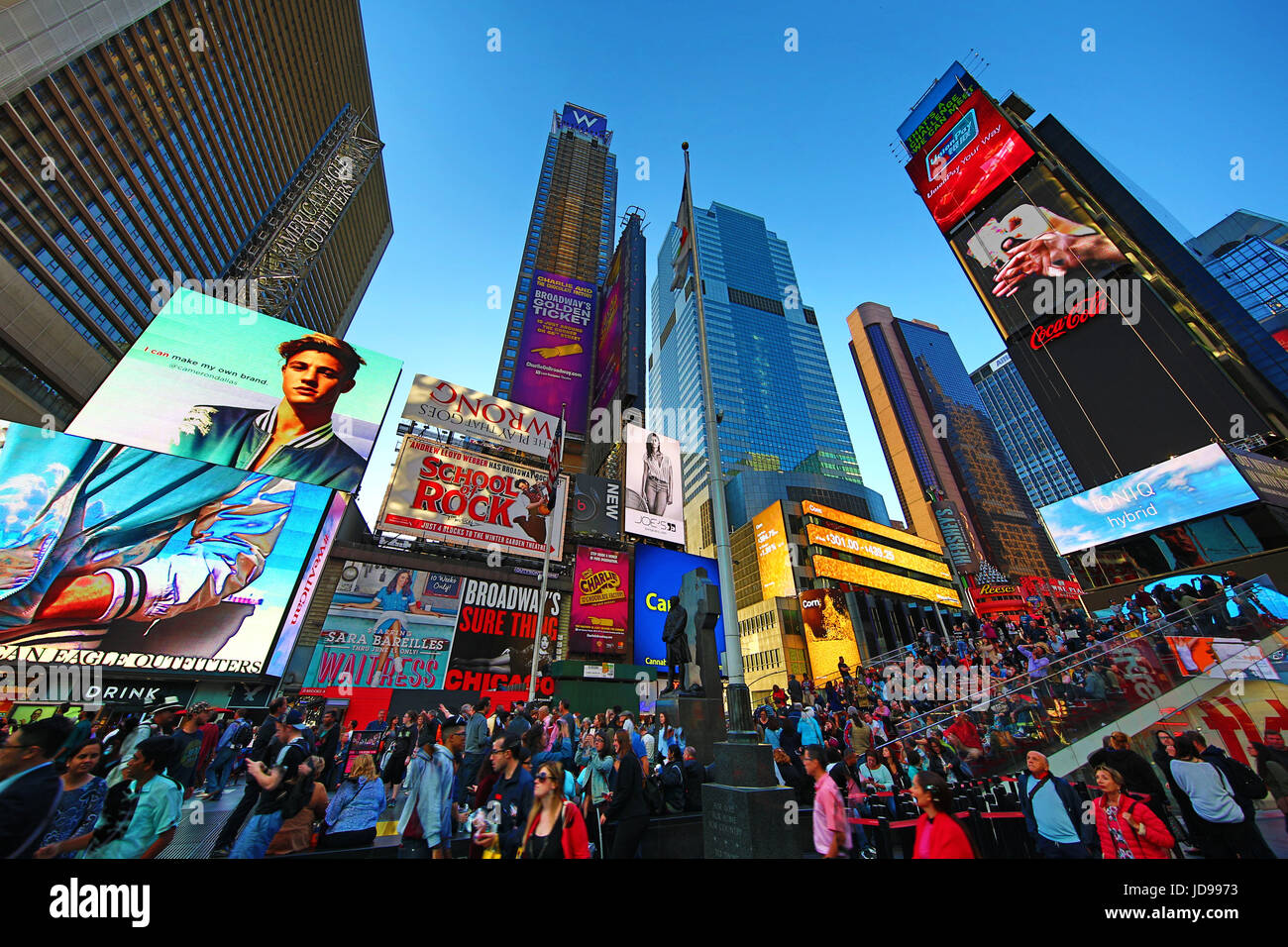 Adverts and advertising in Times Square, New York City, New York, USA - Stock Image