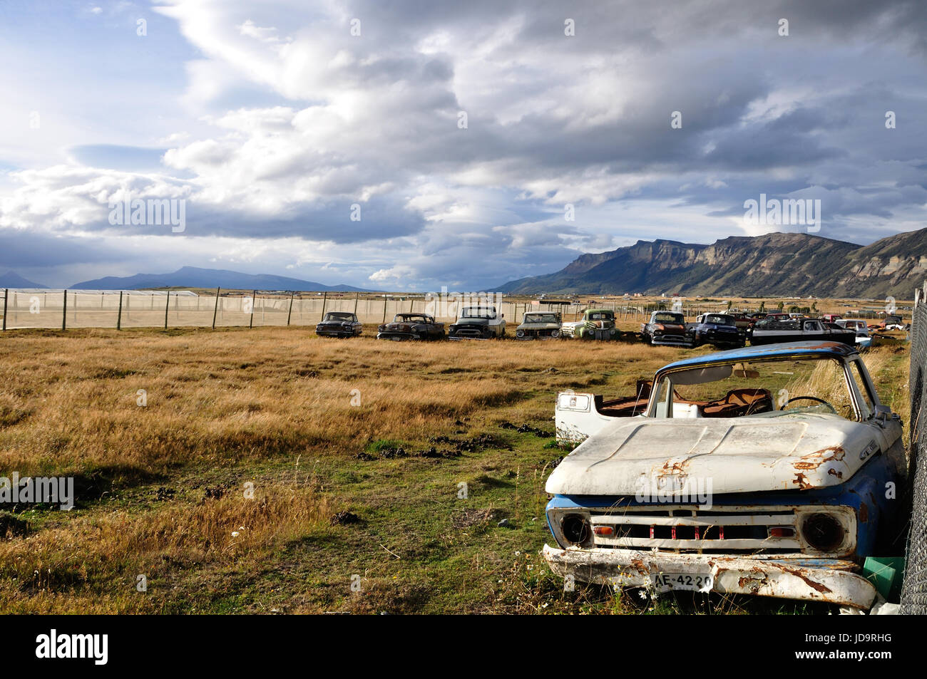 scrap yard or second hand car dealer, Patagonia, Chile, Puerto Natales - Stock Image