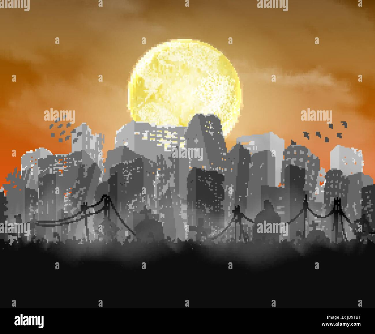 ruined city building  silhouette with moon and red sky - Stock Vector