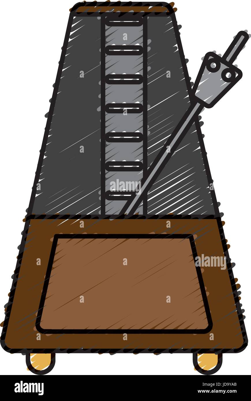 metronome icon over white background vector illustration - Stock Image