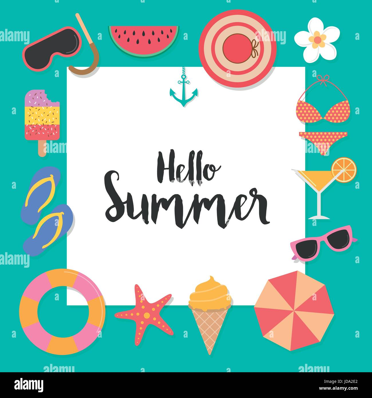 Hello Summer Background With Elements For Greeting Card, Poster, Banner,  Invitation Card, Backdrop And Template Design. Season Vacation, Weekend.  Vect