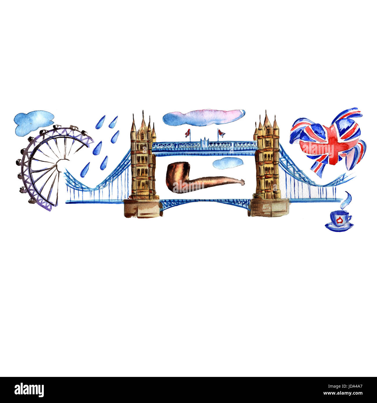 Watercolor London pattern illustration. Great Britain hand drawn symbols: red phone booth, Big Ben clock, flag of - Stock Image