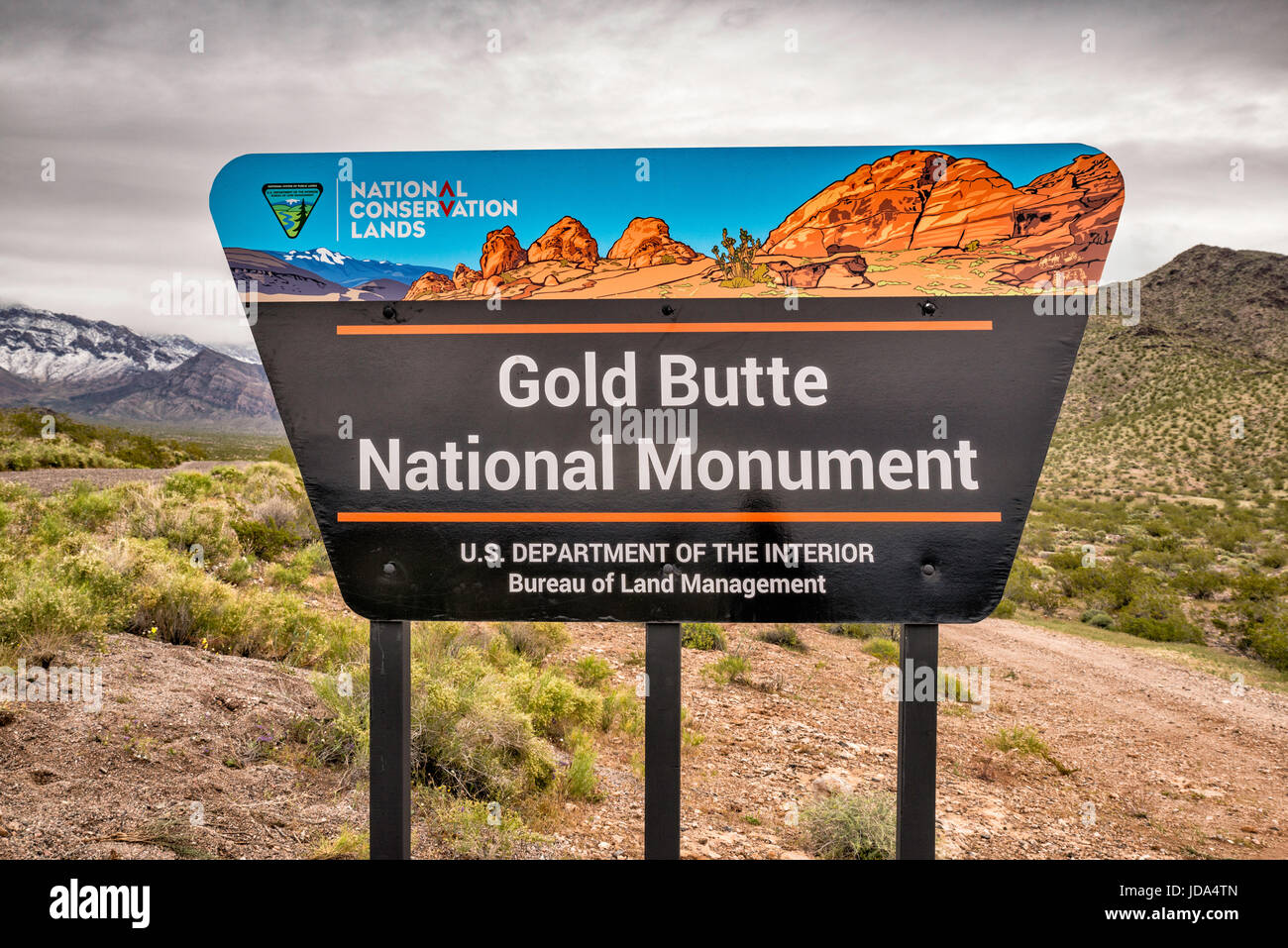 Gold Butte National Monument, sign at Gold Butte Road, Mojave Desert, near Riverside, Nevada, USA - Stock Image