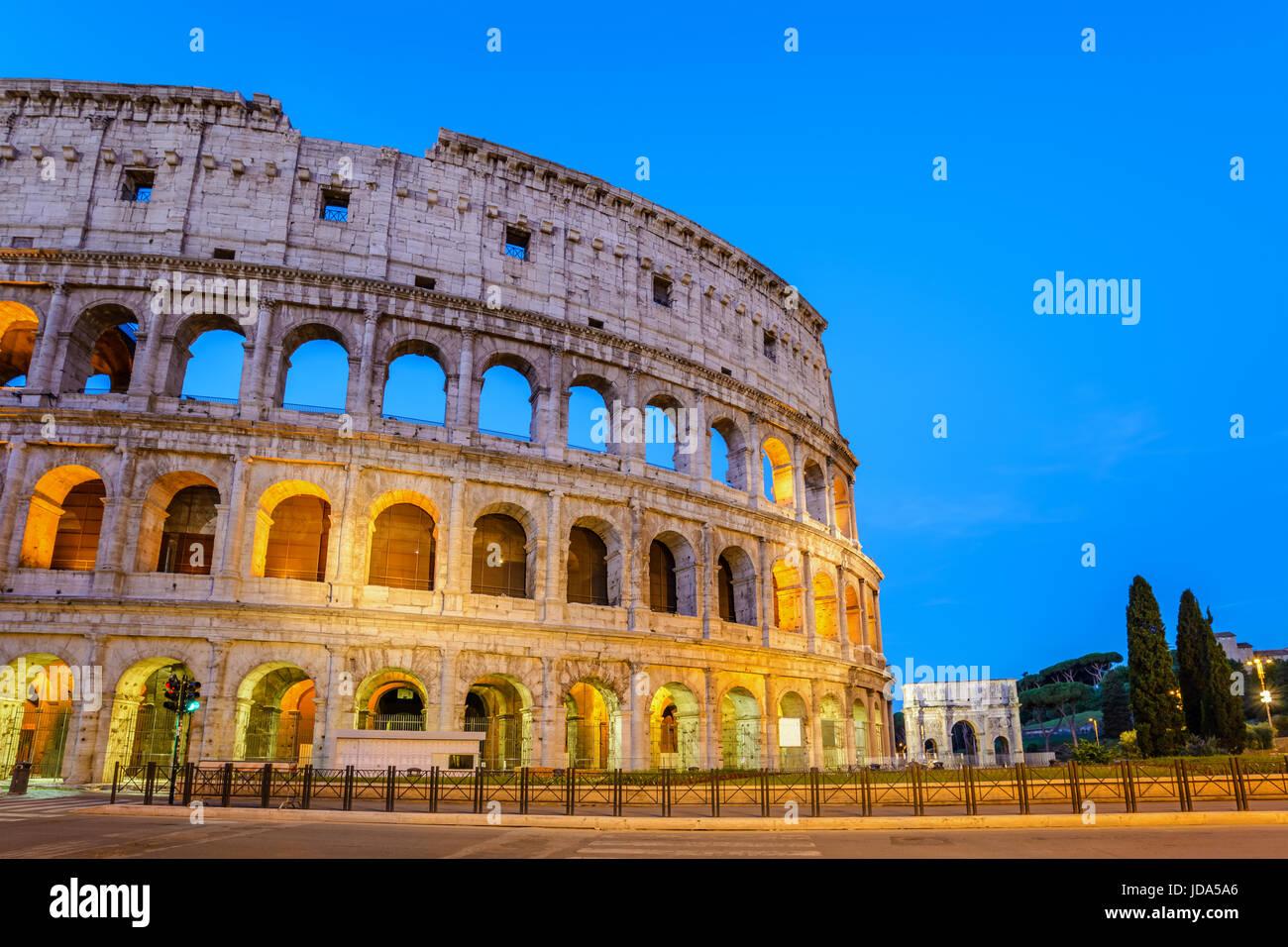 Rome Colosseum (Roma Coliseum) at night, Rome, Italy - Stock Image