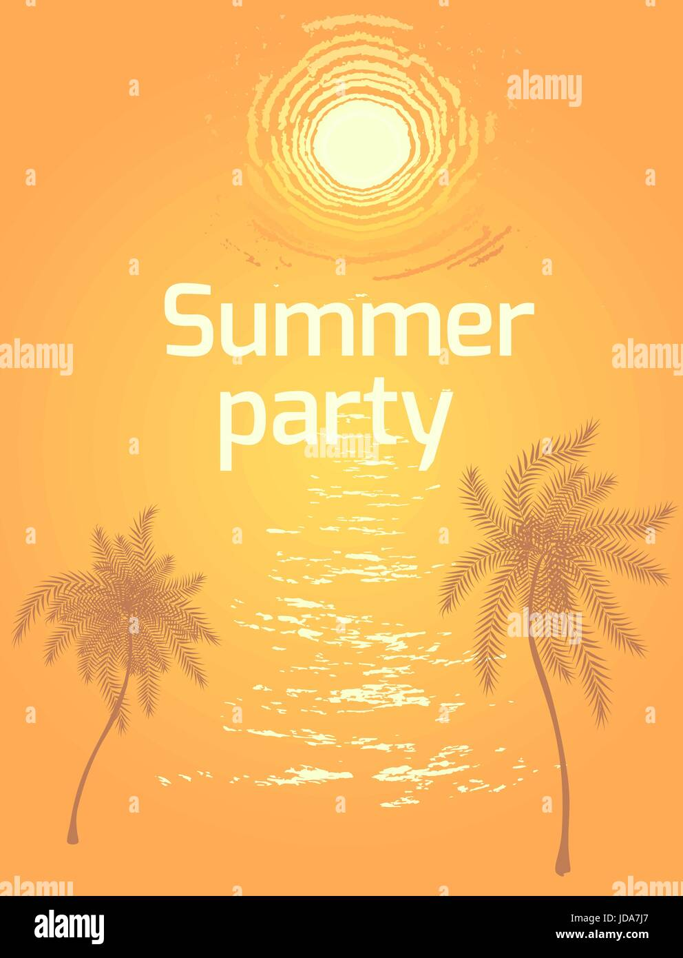Summer Beach Party Flyer Vector Background With Sunset Over Sea Waves