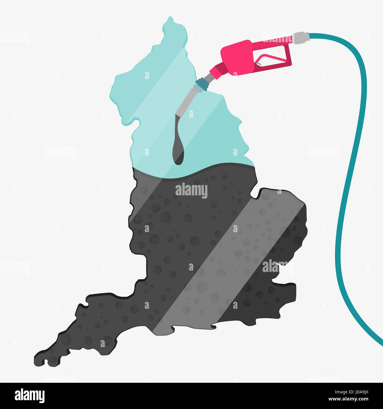 Map of England being fueled by oil. Gas pump fueled map. On the map there is glass reflection. Conceptual. Oil producing - Stock Vector
