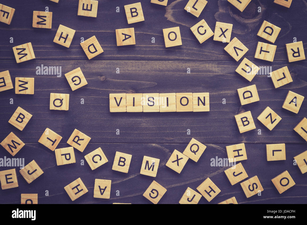 Vision word on wood table for business concept. - Stock Image