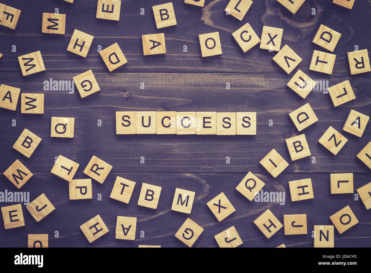 Success word on wood table for business concept. - Stock Image