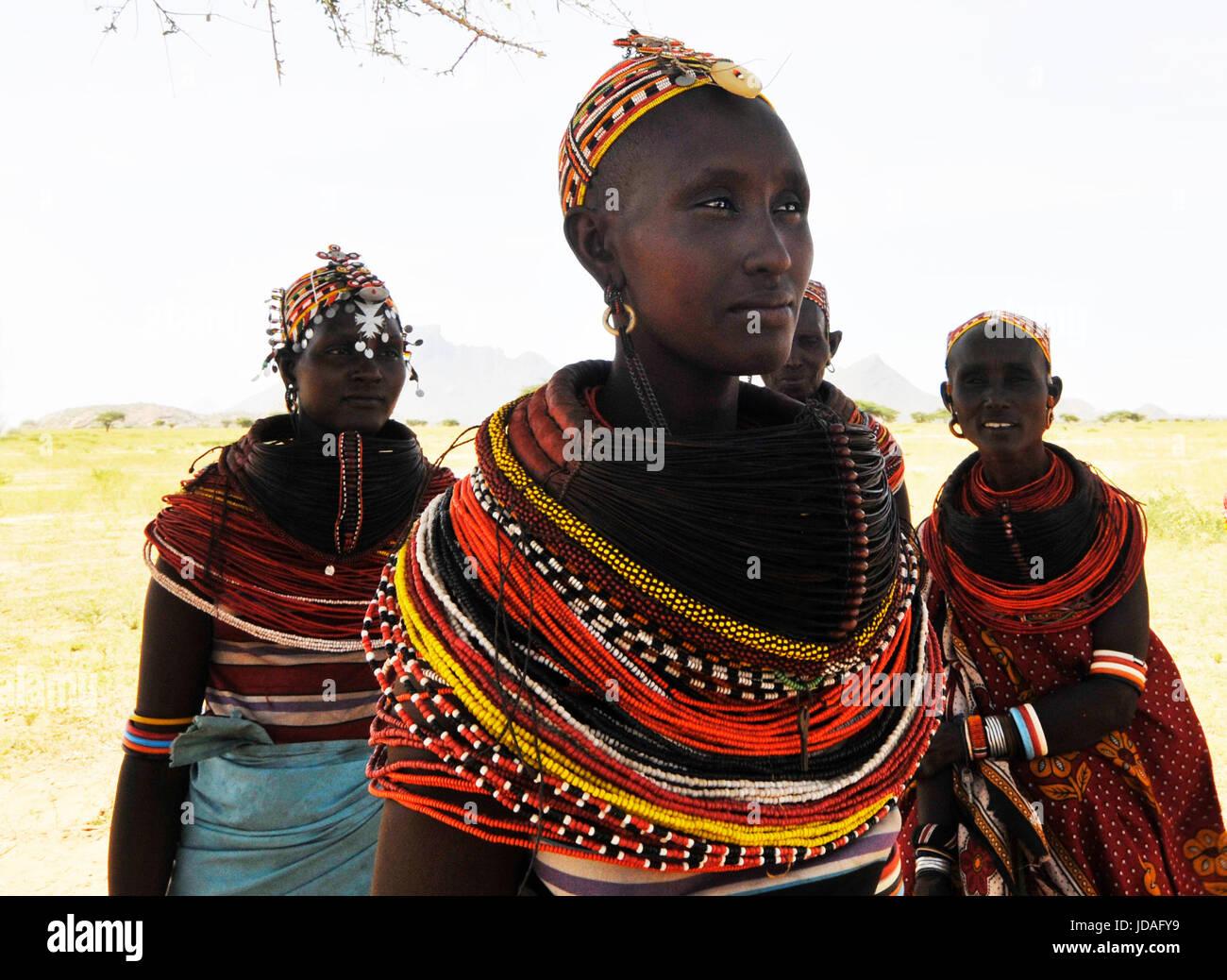 Beautiful Rendille women in their village in northern Kenya. Stock Photo