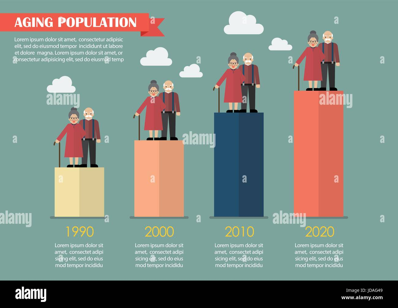 Aging population infographic. Vector illustration Stock ...