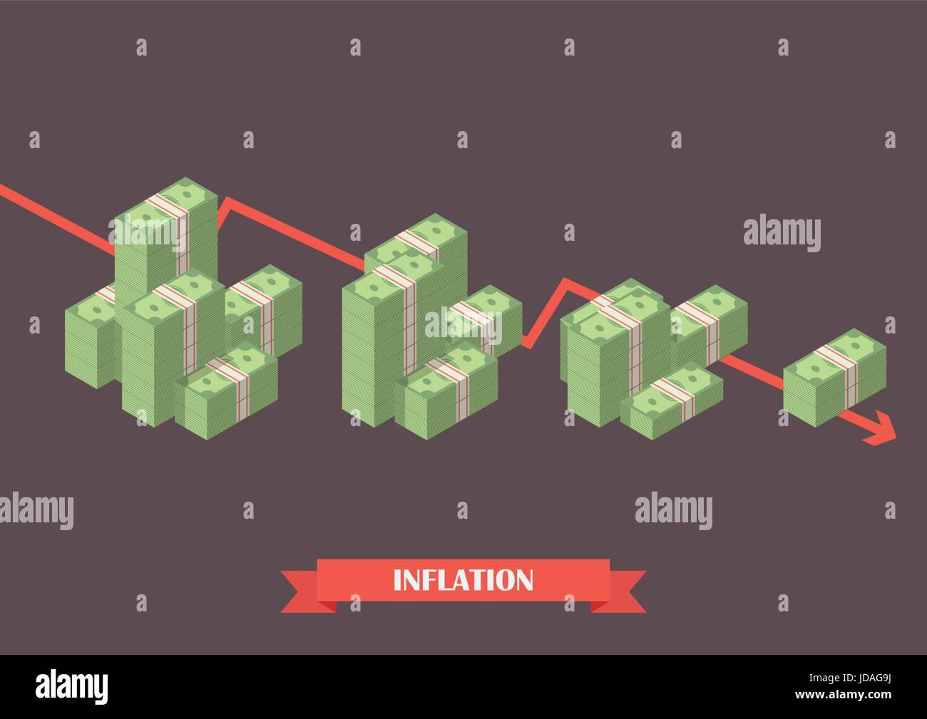Cash money inflation concept. Economy concept - Stock Image
