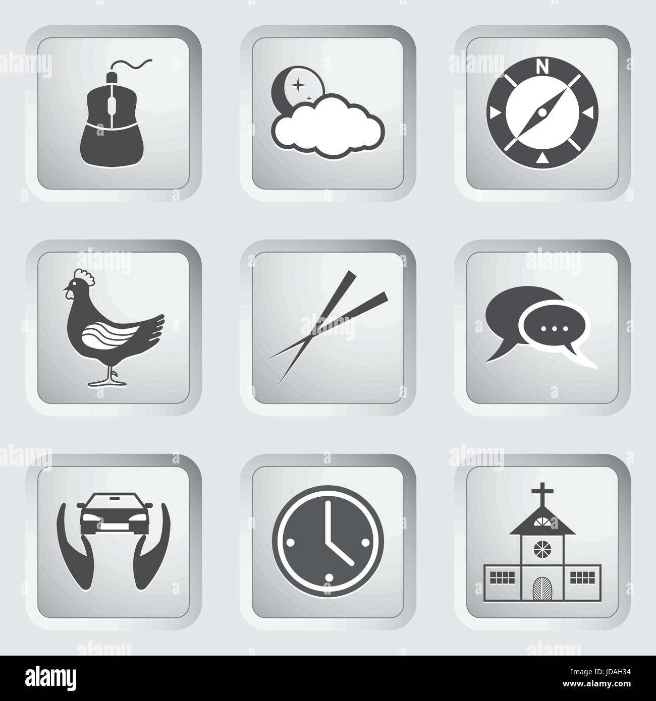 Icons on the buttons for Web Design and Mobile Applications Set 4. Vector illustration. - Stock Image