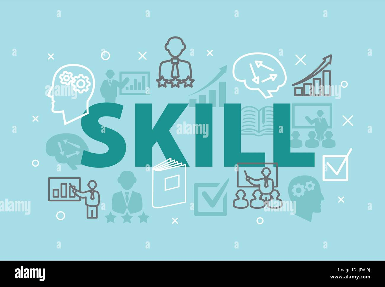 SKILL Concept with icons and signs - Stock Image