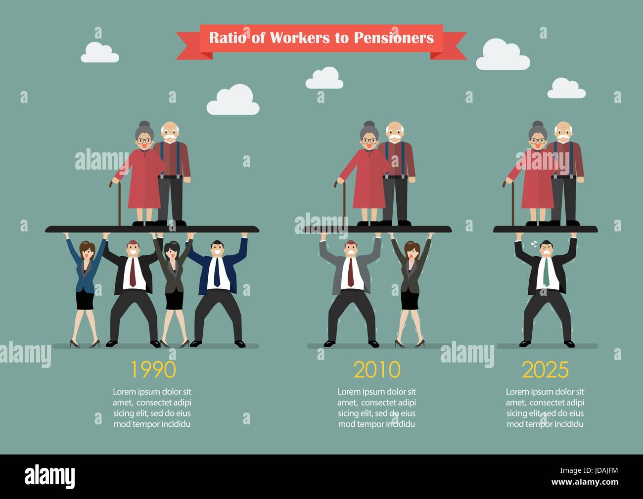 Ratio of Workers to Pensioners. Aging population problem - Stock Vector