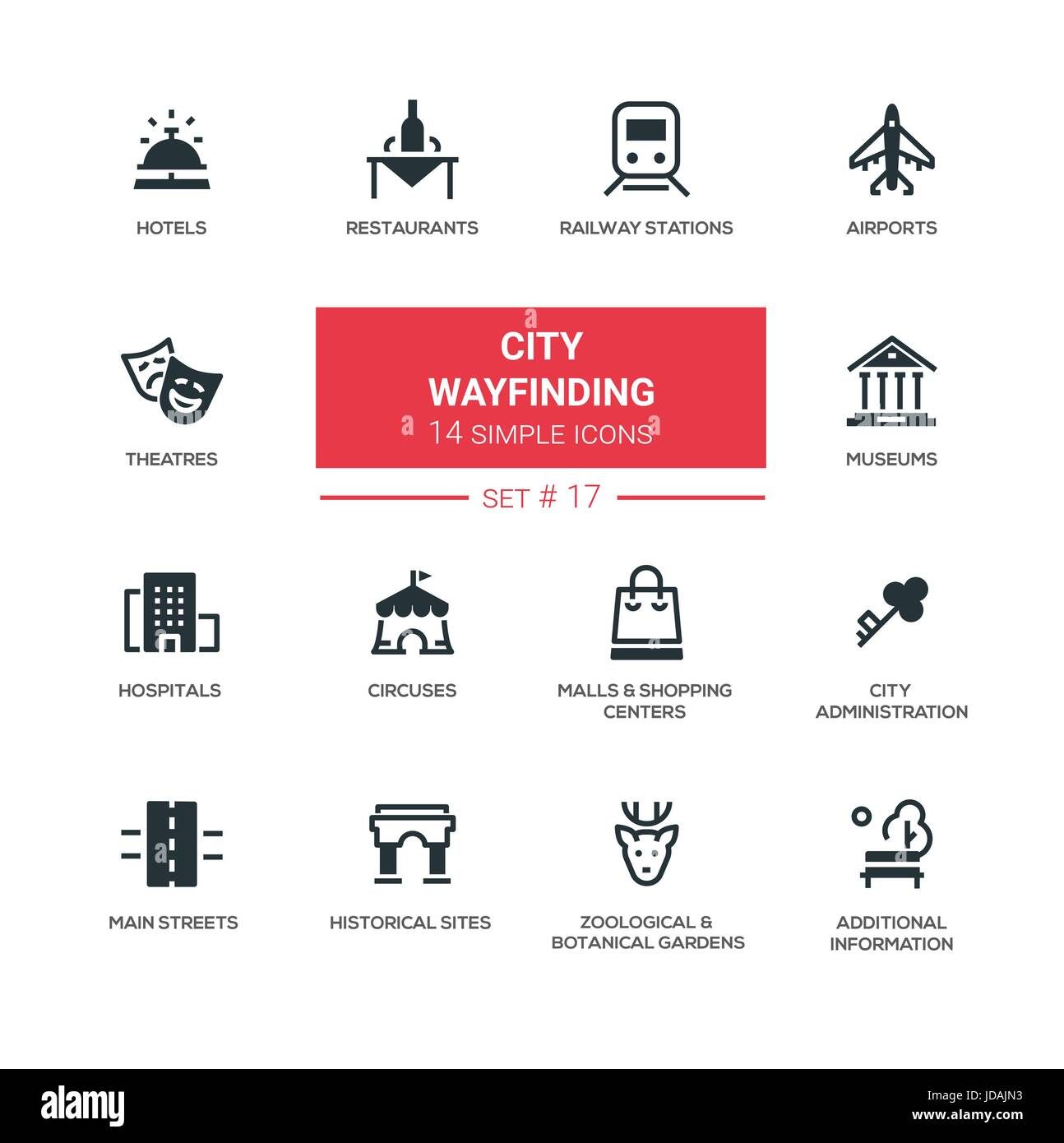 City wayfinding - modern simple icons, pictograms set - Stock Vector
